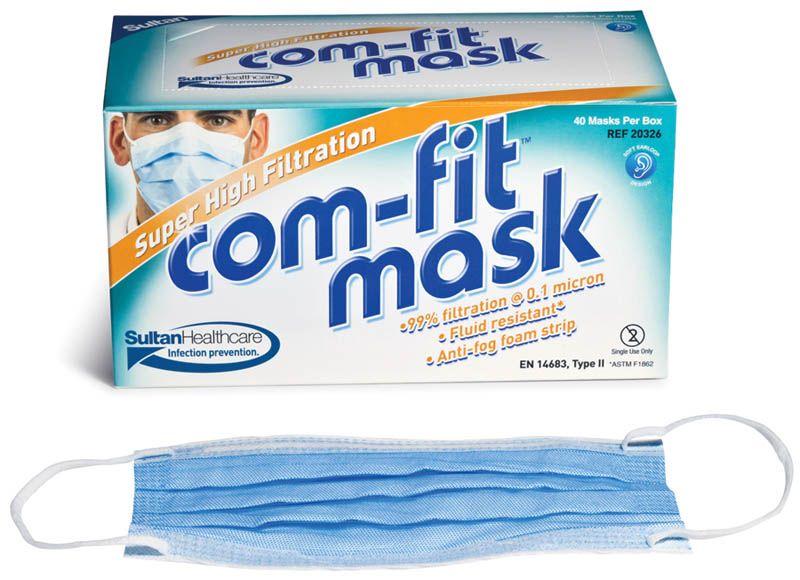 Sultan, COMFIT Masks, Super High Filtration, Ear loop, Blue, 40/box