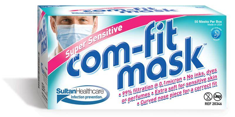 Sultan, COMFIT Masks, Super Sensitive, Ear Loop, White, 50/Box