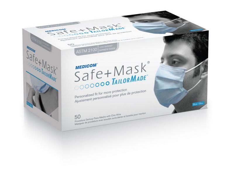 Medicom, Safe-Mask, Tailor Made, Earloop, Low Barrier, Level 1, Blue, 50/Box