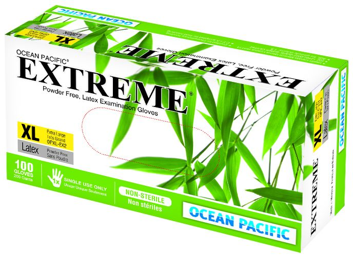 O-P, Gloves, Extreme, Latex, Polymer coated, P/F, X-Small, 100/box