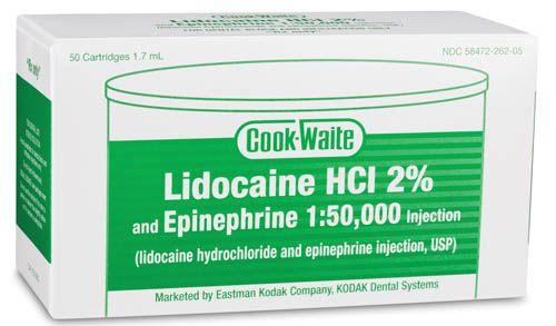 Carestream, Anesthetic, Lidocaine HCI 2%, w/Epinephrine 1:50,000, GREEN, 50/box