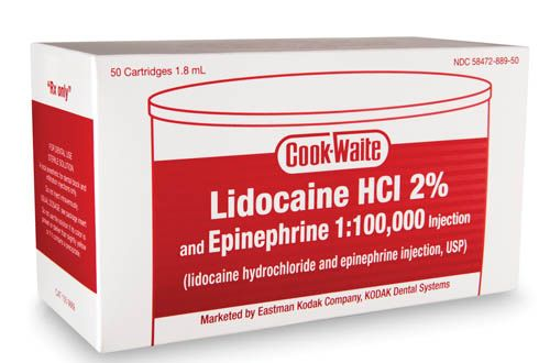 Carestream, Anesthetic, Lidocaine HCI 2%, w/Epinephrine 1:100,000, RED, 50/Box