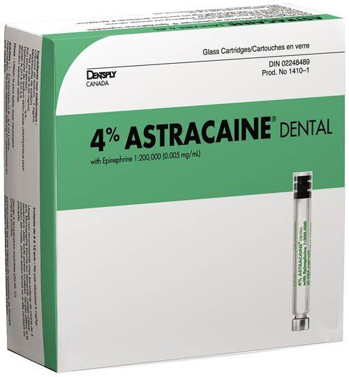 Astra, Astracaine HCI 4%, w/epinephrine 1:200m, Green, 100/box