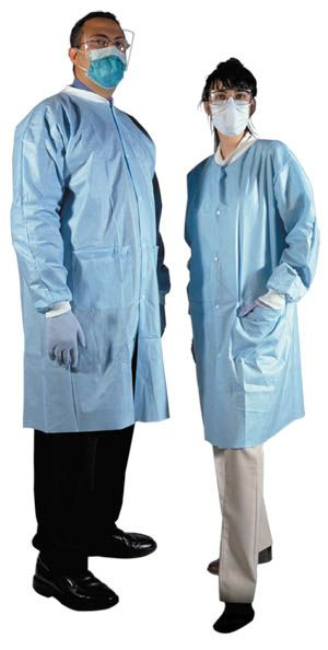 Medicom, Lab gown, Disposable, Blue, Medium, 10/pk