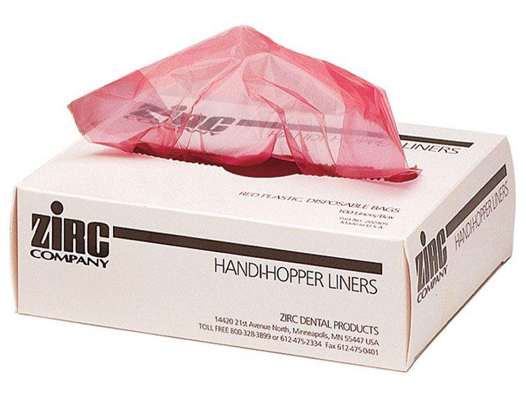 Zirc, Handi Hopper Liners, Red Biohazard, 100/pkg