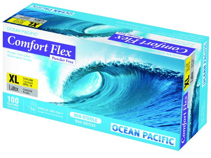 O-P, Gloves, Comfort Flex, Latex, P/F, White, Small, 100/box