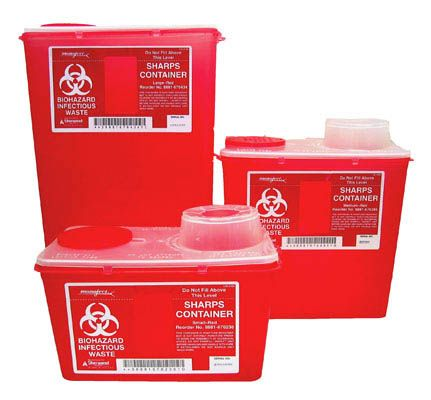 Tyco, Sharps container, Chimney-Top, Large, Red, 14 qt (13.2 L/3.5 gal)