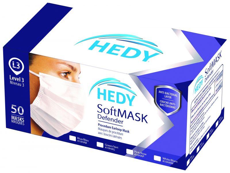 Hedy, Softmask Defender, Earloop, Blue, L3, 50/box