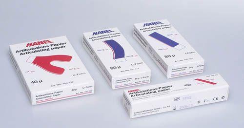 C-W, Hanel, Articulating Paper, U-Shaped, Blue, 80 micron, 72/bx