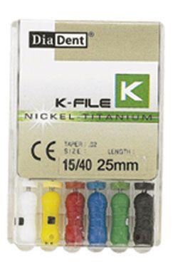 Diadent, K-Files, NiTi, 25mm, #10, 6 Files/box