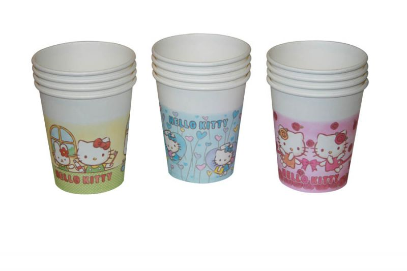 Medicom, Paper Cups, Hello Kitty, Assorted Blue, Yellow & Pink, 5oz. 1000/Case