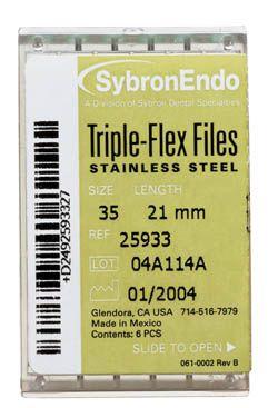 SybronEndo, Triple-Flex Files, 21mm, Assorted #45-80, 6/pkg