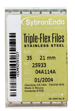 SybronEndo, Triple-Flex Files, 25mm, #08, Gray, 6/pkg