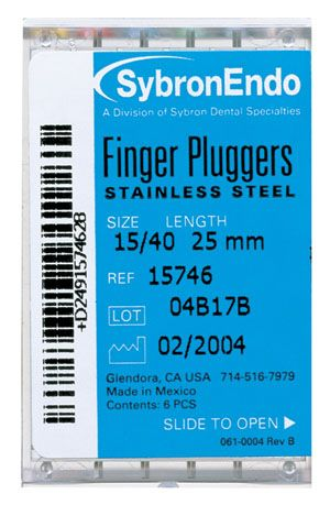 SybronEndo, Finger Plugger, 25mm, #40, Black, 6/pkg