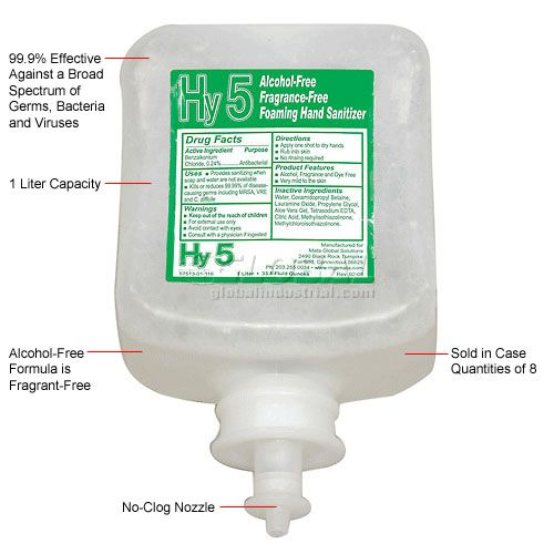 Productive, Hand Sanitizer, Hy5 Alcohol Free, Refill Cartridge, 1200ml