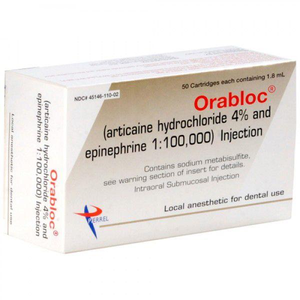 Pierrel, Orabloc 4%, w/epinephrine 1:100,000, 50/box