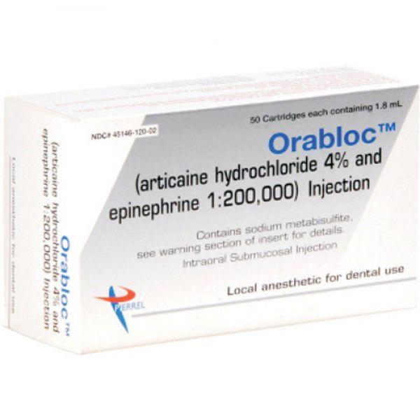 Pierrel, Orabloc 4%, w/epinephrine 1:200,000, 50/box