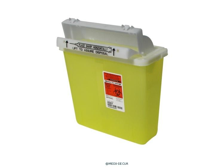 Tyco, Sharps container, SharpStar, Lid and Counter-Balanced door, Yellow, (5 qt)