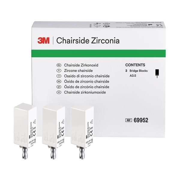 3M, Blocks, Zirconia, Cerec, Chairside, Bridge Shade, A3.5, 69952, 39mm, 3/Pk