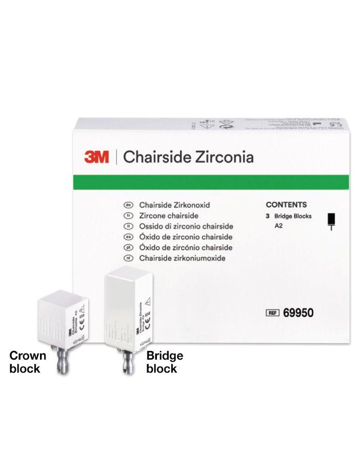 3M, Blocks, Zirconia, Cerec, Chairside, Bridge Shade, A2, 69950, 39mm, 3/Pk