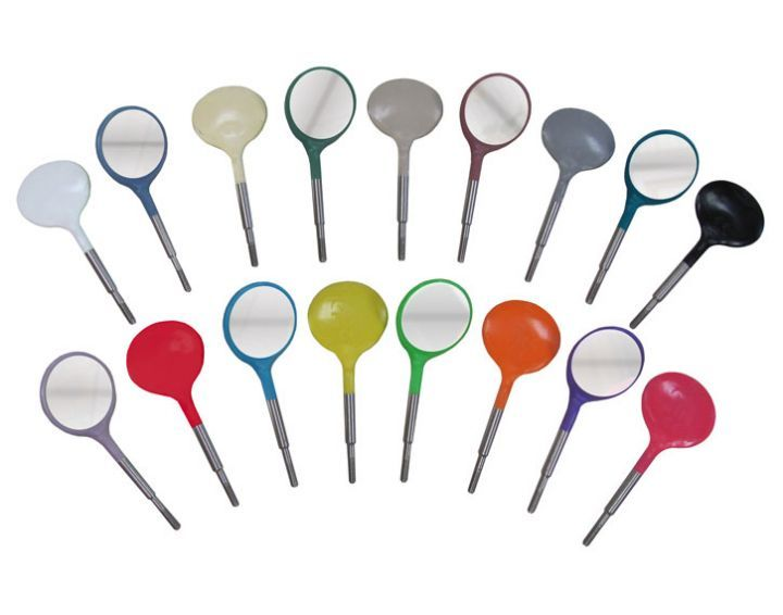 Zirc, Mouth Mirror, Crystal HD, Plastic Head, Cone Socket, Green, #4, 12/pkg