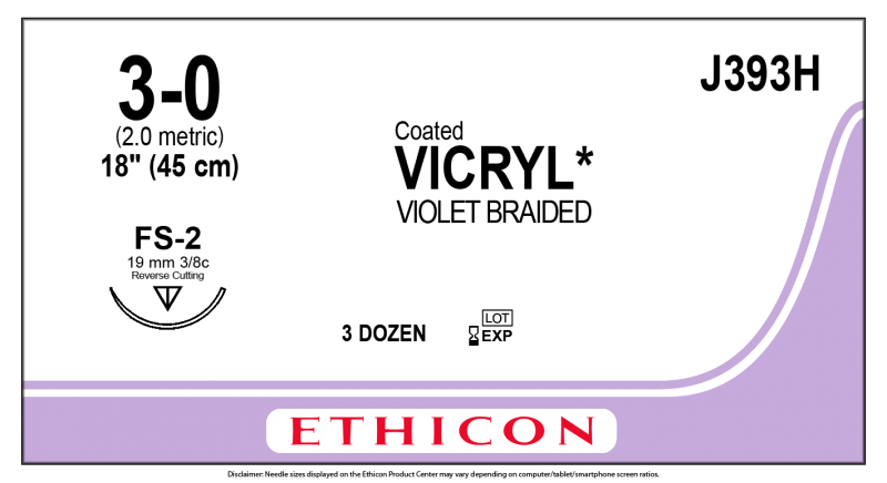 J&J, Sutures, Ethicon, Vicryl Coated, 3-0, 18