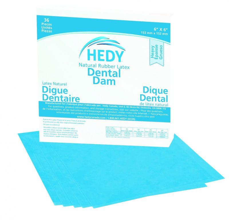 Hedy, Rubber Dam, 6x6, Heavy, Blue, 36/box