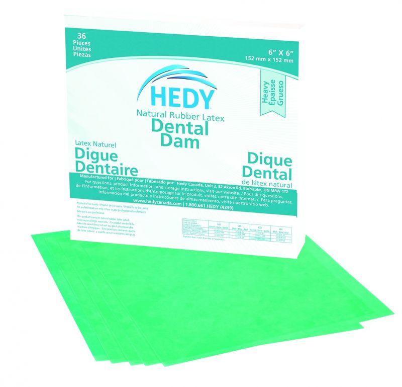 Hedy, Rubber Dam, 6x6, Heavy, Green, 36/box