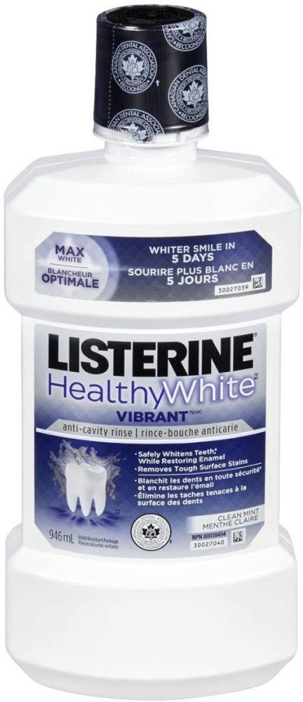 J&J, Listerine, Rinse, Healthy White Vibrant, 946ml Bottle