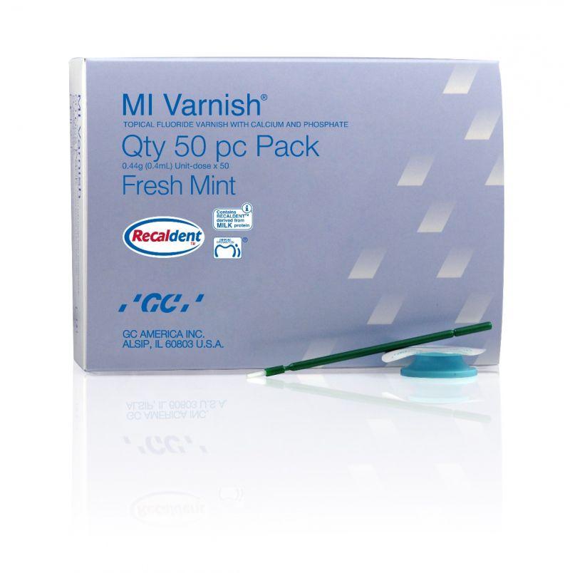 GC, MI Varnish, Fresh Mint, 50 - 0.4ml Unit-Doses, w/50 Green Applicators