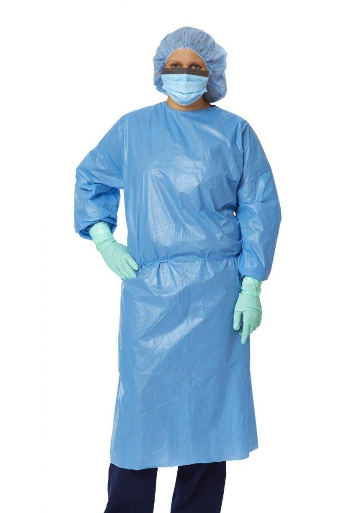 Medline, Gown, Closed Back Coated Polyprop. Isolation, Blue, XL, 10/Bag