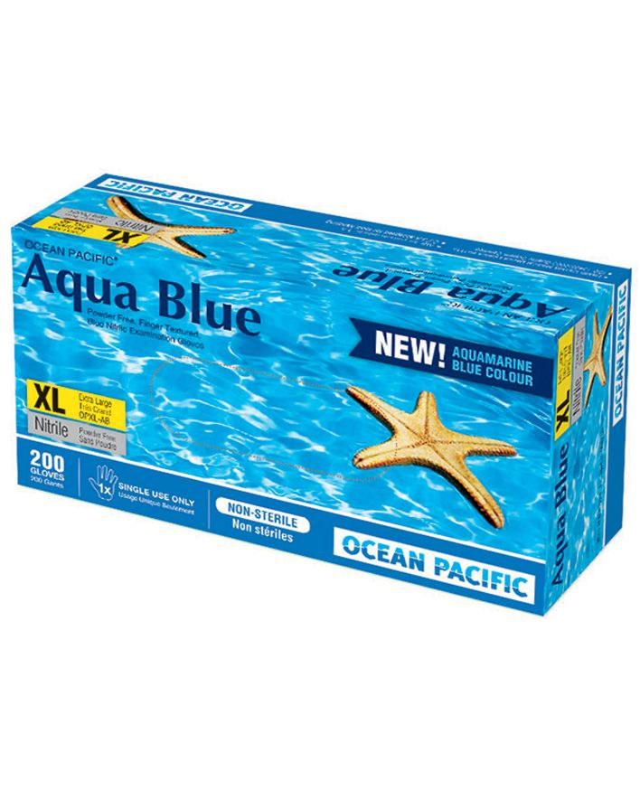 O-P, Gloves, Aqua Blue 2, Nitrile, P/F, Medium, 200/box