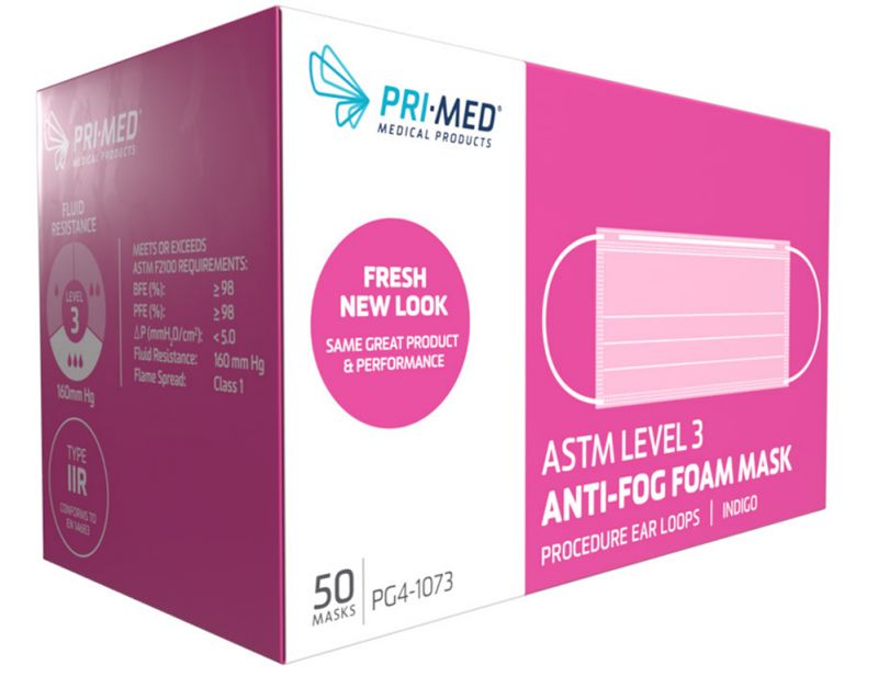 PriMed, Mask, Procedure Ear Loop, Anti-Fog Foam, Level 3, Indigo, 50/box