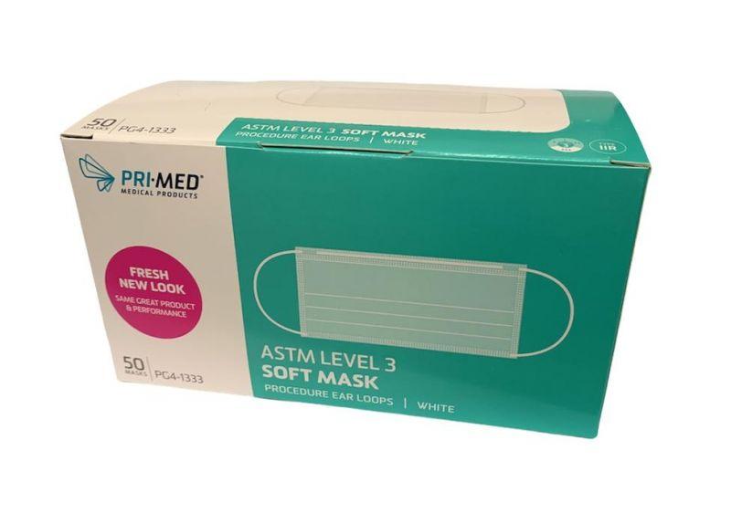 PriMed, Mask, Procedure Ear Loop, Soft Mask, Level 3, White, 50/box