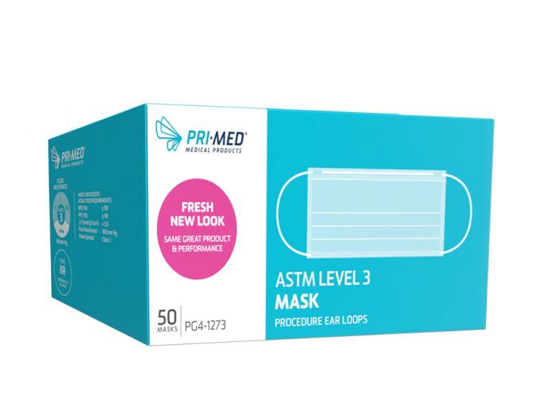 PriMed, Mask, Procedure Ear Loop, primaGard160, Level 3, Blue, 50/box