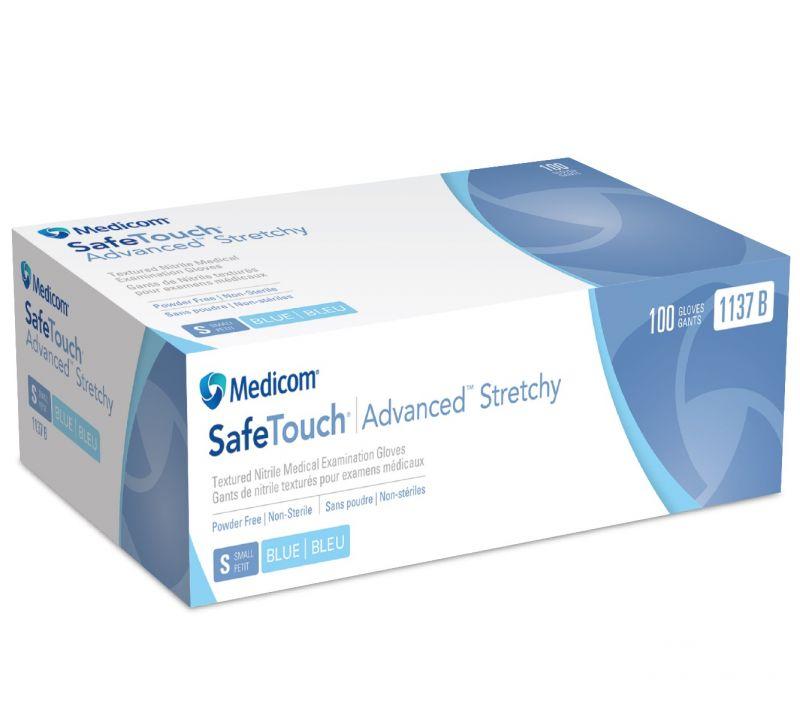 Medicom, Gloves, Nitrile, P/F, Advanced Stretchy, Blue, X-Large, 100/box