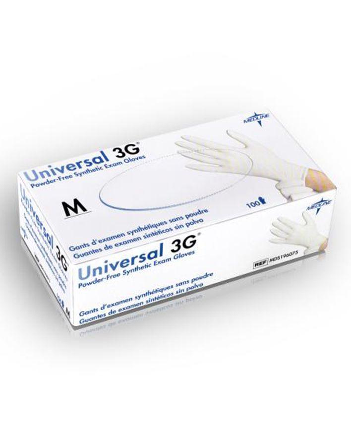 Medline, Maxxim, Gloves, Universal 3G, Stretch, Vinyl Synthetic, White, XSmall